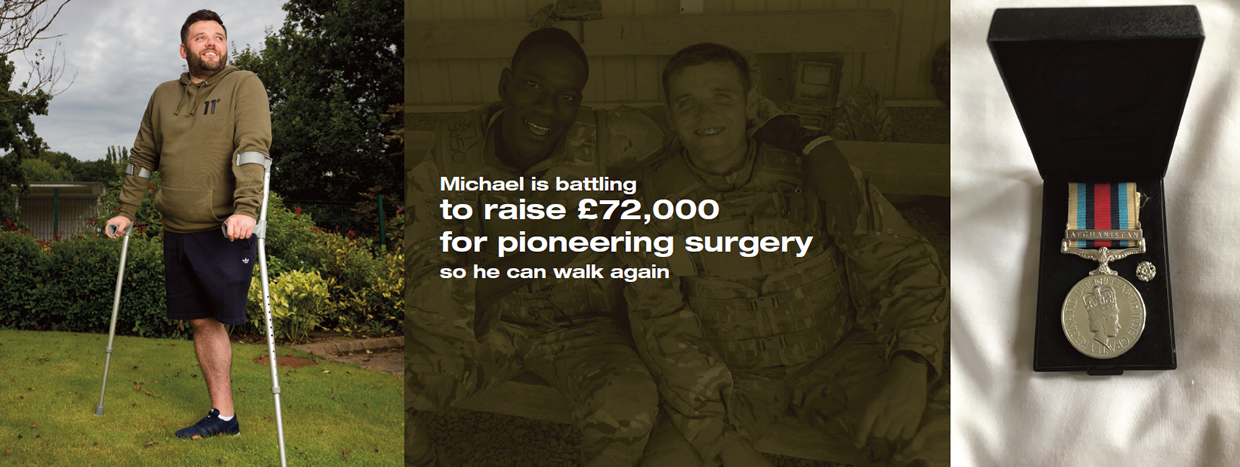 Michael is battling to raise £72,000 for pioneering surgery so he can walk again